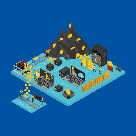 Bitcoin Mining Concept Card 3d Isometric View Cryptocurrency Digital Finance Virtual Electronic Payment on a Blue. Vector illustration of Exchange Technology