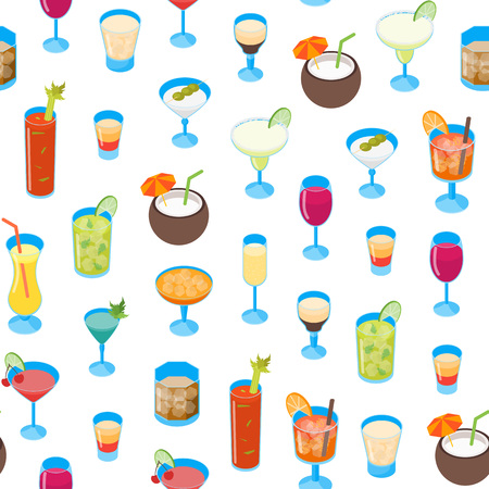 Cocktail Drink in Glass 3d Seamless Pattern Background on a White Alcohol Beverage for Bar, Restaurant or Party. Vector illustration