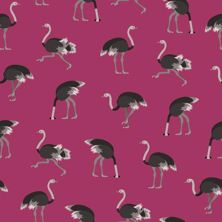 Cartoon Ostrich Gray Bird Seamless Pattern Background Flat Design Style. Vector illustration of African Exotic Animal Çizim