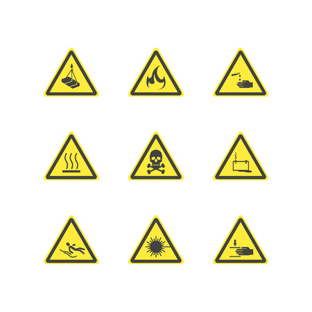 Yellow Warning Hazard Attention Signs Set. Vector
