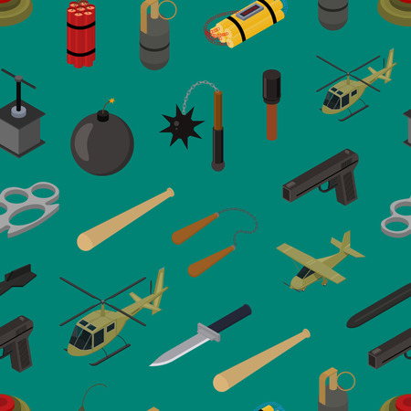 Weapons Seamless Pattern Background Isometric View Defense Element for Web Design. Vector illustration of Weapon Military War Vektorové ilustrace