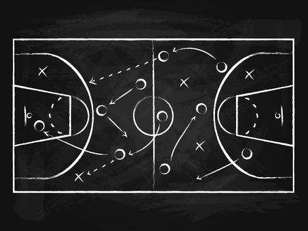 Tableau noir avec carte de fond de basket-ball Terrain de sport, stratégie ou concept de compétition de plan. Illustration vectorielle de plateau de jeu Vecteurs