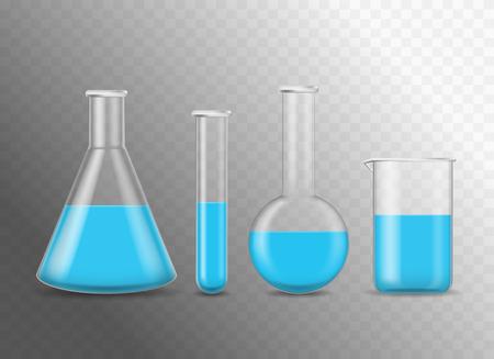 Des flacons en verre chimique 3d réalistes et détaillés définissent un tube et un bécher pour la recherche, l'expérimentation. Illustration vectorielle de la science de la chimie de l'équipement