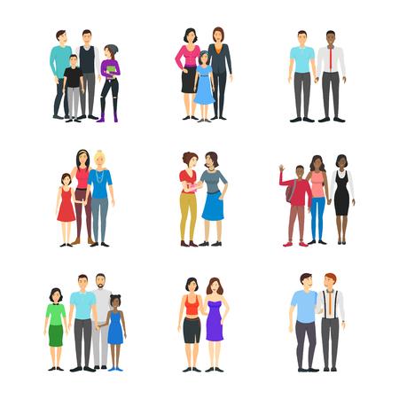 Stripfiguren verschillende homoseksuele paren gezinnen instellen Concept Element plat designstijl. Vectorillustratie van familie