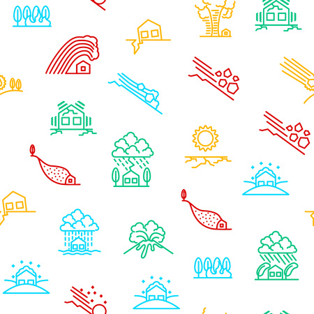 Natural Disaster Signs Thin Line Seamless Pattern Background. Vector Illustration