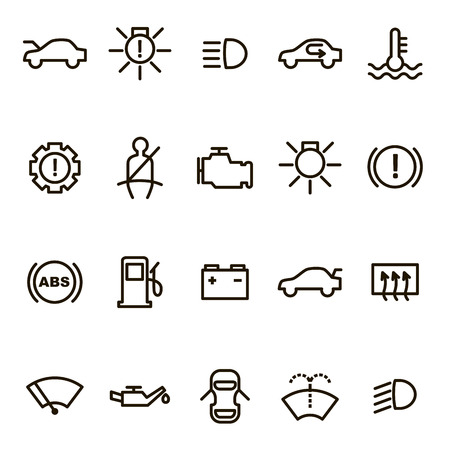 Car Dashboard Signs Black Thin Line Icon Set Include of Engine, Battery, Pressure, Oil and Gasoline Measurement. Vector illustration of Icons
