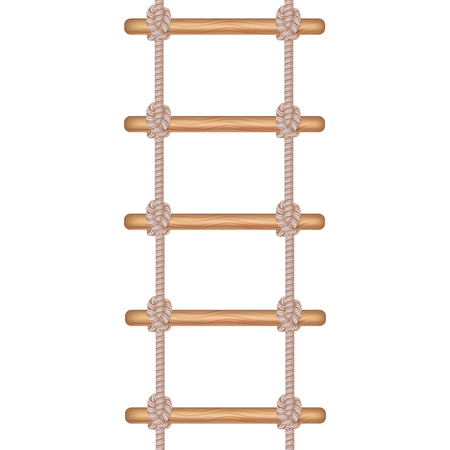 Realistic Detailed 3d Rope Ladder or Stair Symbol of Accessibility, Adventure, Opportunity and Ambition. Vector illustration of Staircase Vectores