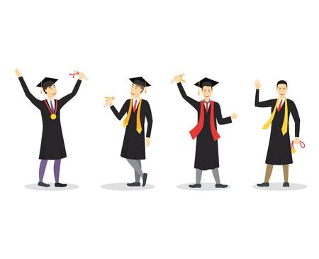 Cartoon Graduation of Happy Students Boy Set Education Concept Element Flat Design Style. Vector illustration of Icon Student People