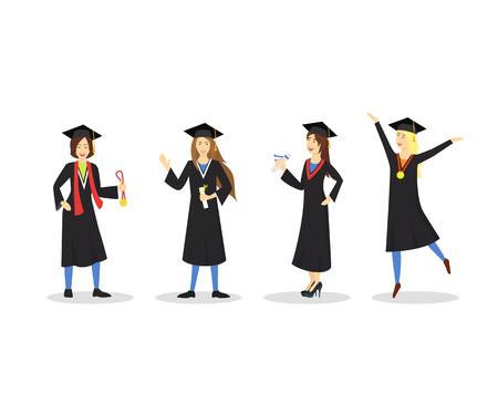 Cartoon Graduation of Happy Students Girl Set Education Concept Element Flat Design Style. Vector illustration of Icon Student People Vector Illustratie