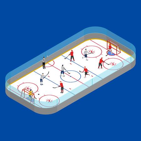 Concorrenza dell'arena di hockey su ghiaccio o concetto di campionato professionale su una vista isometrica 3d blu. Illustrazione vettoriale di stadio e giocatore di sport invernali