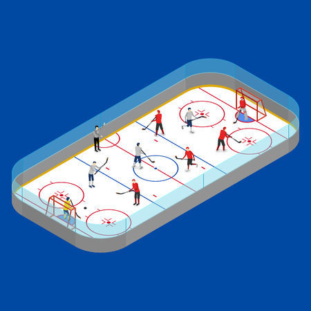 Ice Hockey Arena Competition or Professional Championship Concept on a Blue 3d Isometric View. Vector illustration of Winter Sport Stadium and Player Vectores