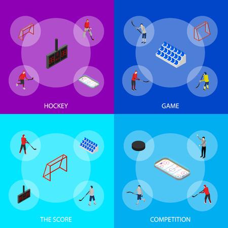 Competencia de arena de hockey sobre hielo o concepto de campeonato profesional vista isométrica 3d. Ilustración de vector de jugador y estadio de deportes de invierno
