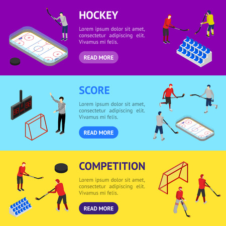 Ice Hockey Arena Competition Banner Horizontal Set 3d Isometric View. Vector Vectores