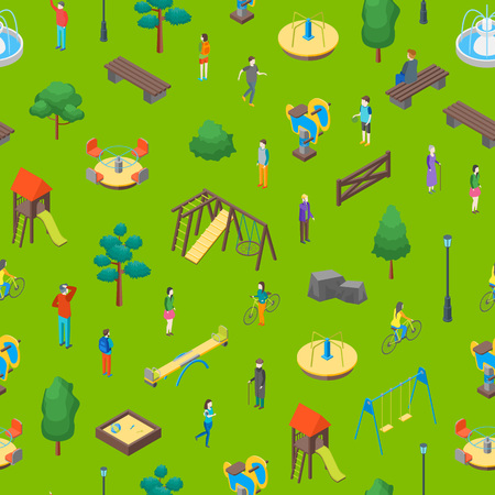 Kid Playground Elements 3d Seamless Pattern Background Isometric View Include of Swing, Toy, Sandbox, Seesaw, Ladder and Carousel. Vector illustration