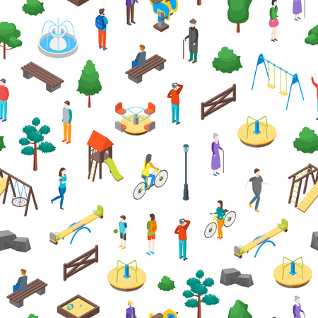 Kid Playground Elements 3d Seamless Pattern Background on a White Isometric View Include of Swing, Toy, Sandbox, Seesaw, Ladder and Carousel. Vector illustration Illustration