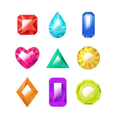 Set di gioielli colorati 3d realistici e dettagliati diversi tipi di gemme o cristalli per gioielli di lusso. Illustrazione vettoriale di pietre preziose