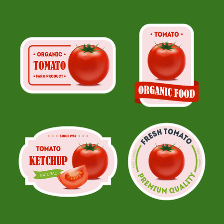 Cartoon Tomato Badges or Labels Set Healthy, Fresh and Organic Product for Advertising Concept Element Flat Design Style. Vector illustration of Badge and Label Ilustracje wektorowe
