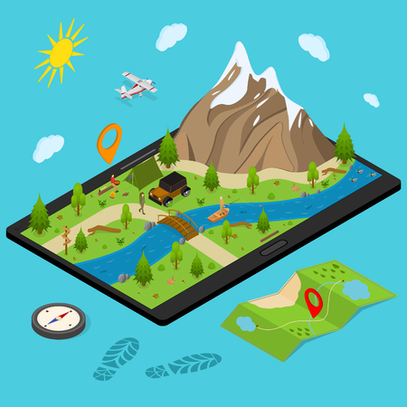 Hiking in a Park Concept 3d Isometric View with Mountain and Forest. Vector illustration of Outdoor Activity Travel Adventure
