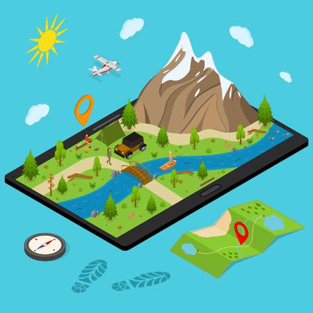 Wandern in einem Park-Konzept 3d isometrische Ansicht mit Berg und Wald. Vektorillustration des Outdoor-Aktivitätsreiseabenteuers