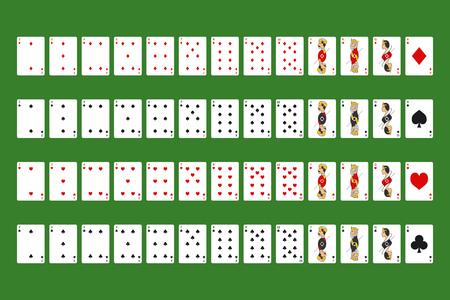 Mazzo completo di carte da gioco del poker su un simbolo verde del gioco d'azzardo nel casinò. Illustrazione vettoriale del set di giochi Vettoriali