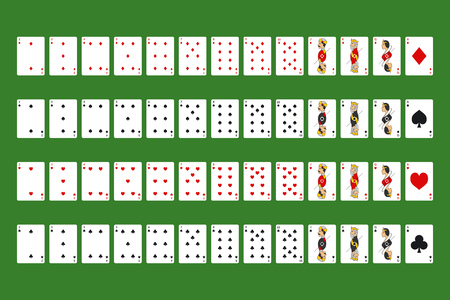 Poker Playing Cards Full Deck on a Green Symbol of Gambling in Casino. Vector illustration of Game Set 向量圖像