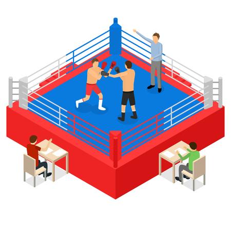 Boxring für Kampfsport-Wettbewerbskonzept isometrische 3D-Ansicht. Vektor-Illustration der Square Arena-Plattform für Boxer