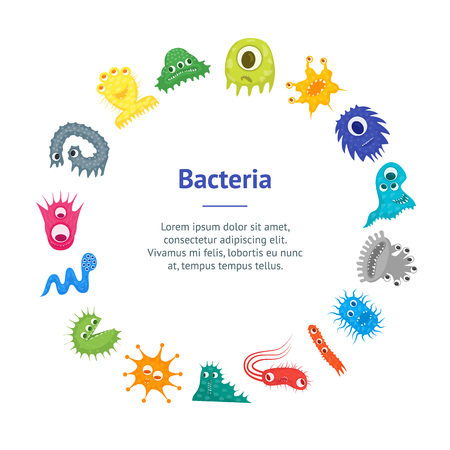 Cartoon Bacteria Characters Banner Card Circle.