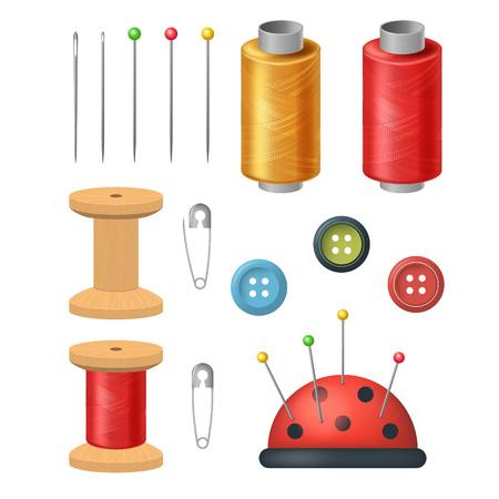 Realistisches detailliertes 3D-Nähzubehör für Schneiderei und Handarbeitsset einschließlich Faden, Nadel und Knopf. Vektor-Illustration Vektorgrafik