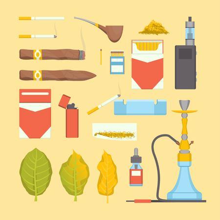 El conjunto de iconos de productos de tabaco para fumar de color de dibujos animados incluye cigarrillos, pipas, puros y narguiles. Ilustración de vector de iconos