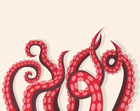 Carta di sfondo animale marino subacqueo tentacoli polpo.