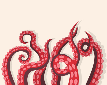 Tentacles Octopus Underwater Marine Animal Background Card. Ilustrace
