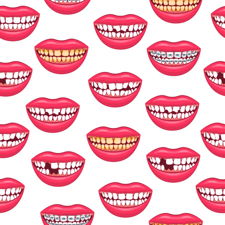 Realistic Detailed 3d Dental Problems Seamless Pattern Background on a White Health Care and Dentistry Hygiene Concept. Vector illustration of Treatment