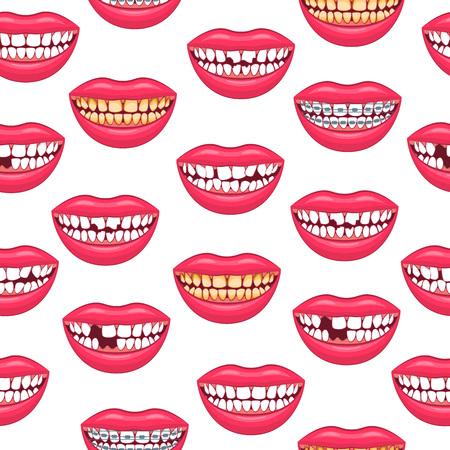 Realistische detaillierte 3D-Zahnprobleme nahtlose Hintergrundmuster auf einem weißen Gesundheits- und Zahnhygienekonzept. Vektor-Illustration der Behandlung