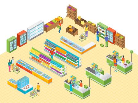 Supermarket lub wnętrze sklepu z meblami do widoku izometrycznego reklamy. Ilustracja wektorowa rynku spożywczego lub centrum handlowego z prezentacją i ludźmi
