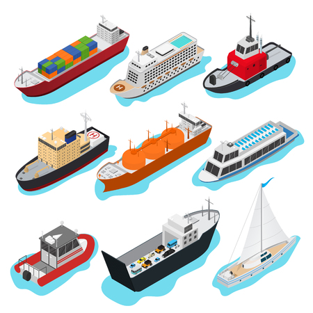 Commercial Sea Ships Signs 3d Icon Set Isometric View Include of Freight Industrial Boat and Vessel. Vector illustration of Icons