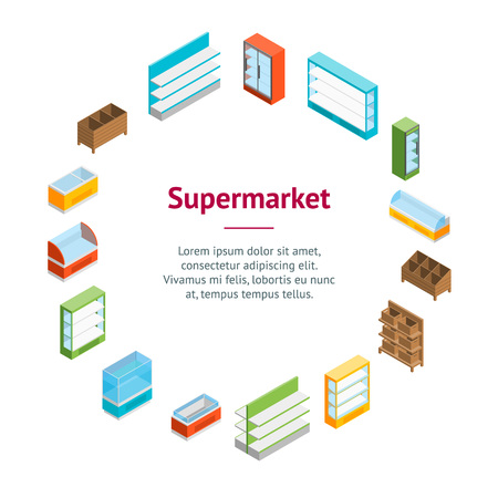 Supermarket Elements Banner Card Circle Isometric View Shelf and Showcase Different Types. Vector illustration
