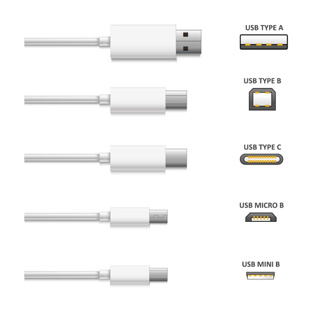 Realistic Detailed 3d White USB Cable and Connector Types Set Communication Technology Concept. Vector illustration of Plug 版權商用圖片 - 109773513