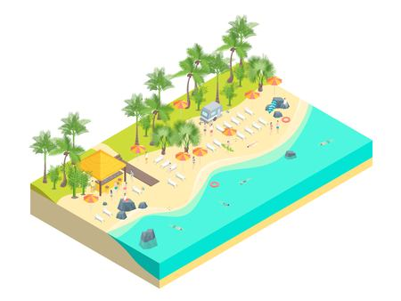 Beach Rest Concept 3d Isometric View. Vector