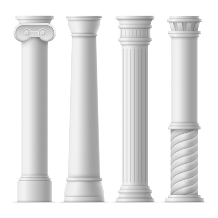 Realistic Detailed 3d White Ancient Columns Set Template Mockup Classic Style. Vector illustration of Column or Pillar