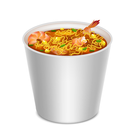 Realistic Detailed 3d Instant Noodles in Blank White Container Tasty Snack Concept. Vector illustration of Asian Food