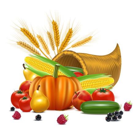 Realistic Detailed 3d Cornucopia or Horn of Plenty Concept Include of Pumpkin, Grape, Apple and Tomato. Vector illustration