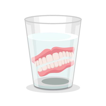 Prothèses 3D détaillées réalistes dans un verre d'eau Concept de soins de santé de dentisterie. Illustration vectorielle de dents de prothèse Vecteurs