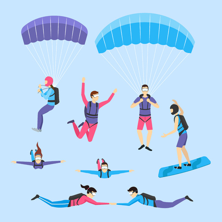 Cartoon Characters Skydiving and Parachuting People Set Extreme Sport Concept Element Flat Design Style. Vector illustration