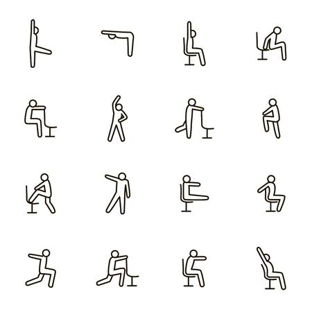 Ejercicios deportivos para signos de oficina Conjunto de iconos de línea fina negra que incluyen fitness y entrenamiento. Ilustración de vector de iconos