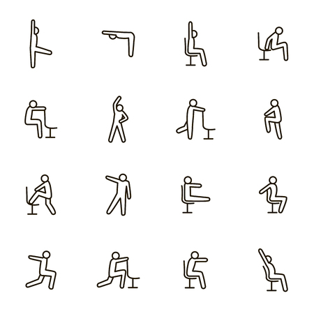 Sport Exercises for Office Signs Black Thin Line Icon Set Include of Fitness and Workout. Vector illustration of Icons 向量圖像