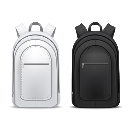 Realistic Detailed 3d White and Black Blank School Backpacks Template Mockup Set. Vector Stock Photo