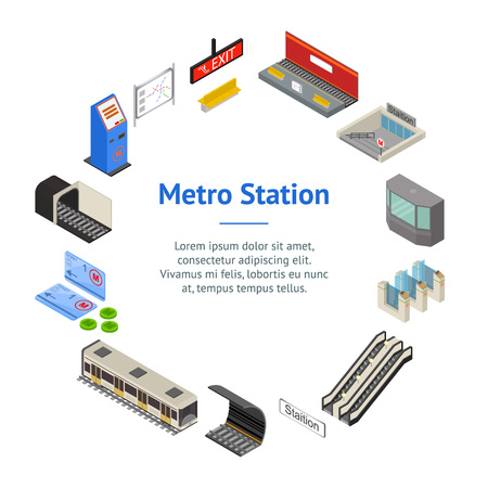 Metro Station 3d Banner Card Circle Isometric View. Vector