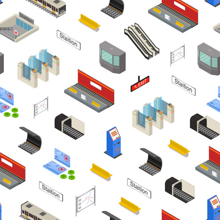 Metro Station 3d Seamless Pattern Background Isometric View. Vector