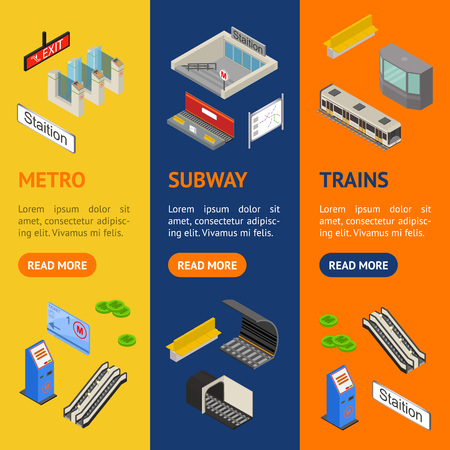 Metro Station 3d Banner Vecrtical Set Isometric View. Vector