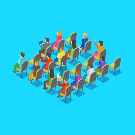 Politician Business Audience Concept 3d Isometric View on a Blue. Vector illustration  イラスト・ベクター素材
